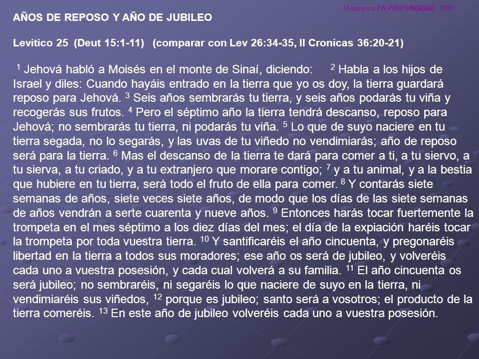 Ministerios EN PROFUNDIDAD 2008 AÑOS DE REPOSO Y AÑO DE JUBILEO Levitico 25 (Deut 15:1-11) (comparar con Lev 26:34-35, II Cronicas 36:20-21) 1 Jehová