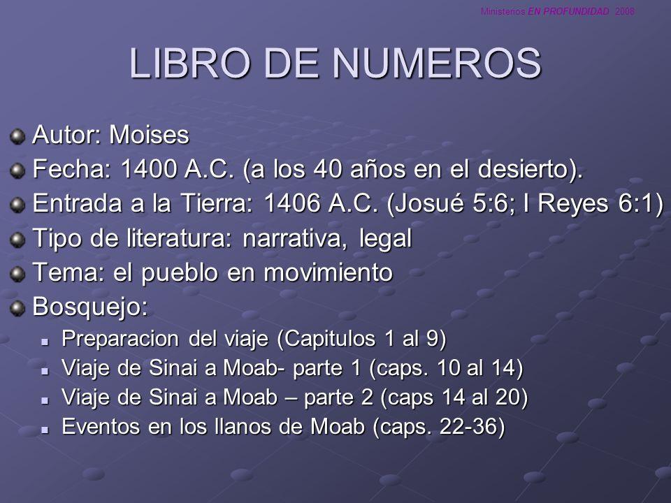 Ministerios EN PROFUNDIDAD 2008 LIBRO DE NUMEROS Autor: Moises Fecha: 1400 A.C. (a los 40 años en el desierto). Entrada a la Tierra: 1406 A.C. (Josué