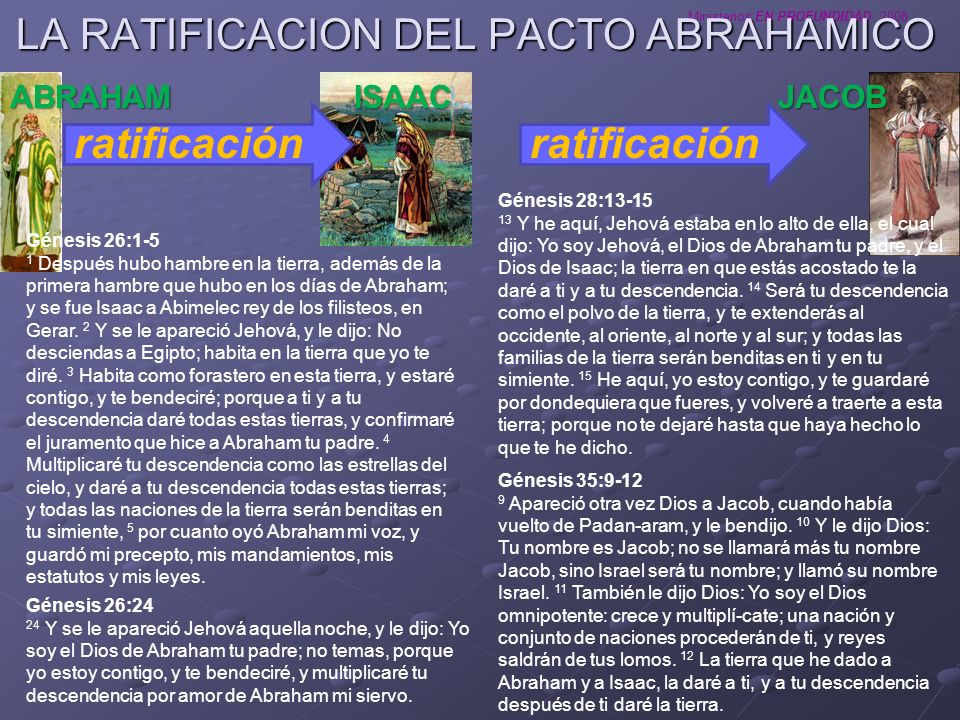 Ministerios EN PROFUNDIDAD 2008 LA RATIFICACION DEL PACTO ABRAHAMICO ratificación ABRAHAMISAAC Génesis 26:1-5 1 Después hubo hambre en la tierra, adem