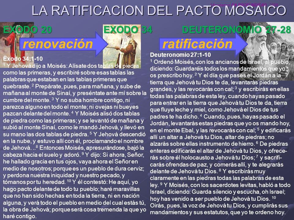 Ministerios EN PROFUNDIDAD 2008 LA RATIFICACION DEL PACTO MOSAICO renovación EXODO 34 DEUTERONOMIO 27-28 ratificación EXODO 20 Éxodo 34:1-10 1 Y Jehov