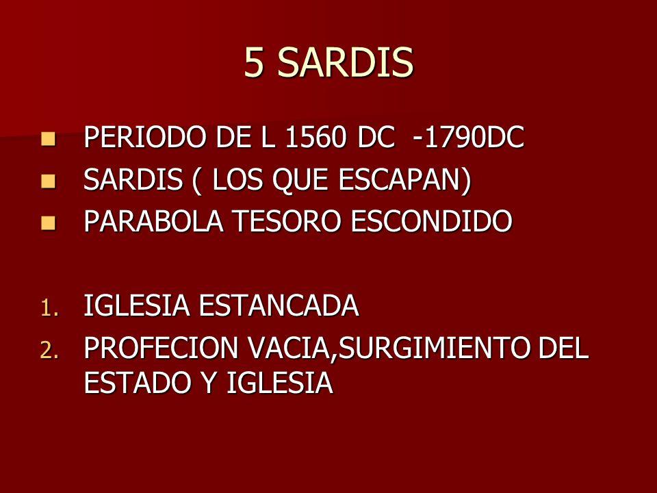 5 SARDIS PERIODO DE L 1560 DC -1790DC PERIODO DE L 1560 DC -1790DC SARDIS ( LOS QUE ESCAPAN) SARDIS ( LOS QUE ESCAPAN) PARABOLA TESORO ESCONDIDO PARAB