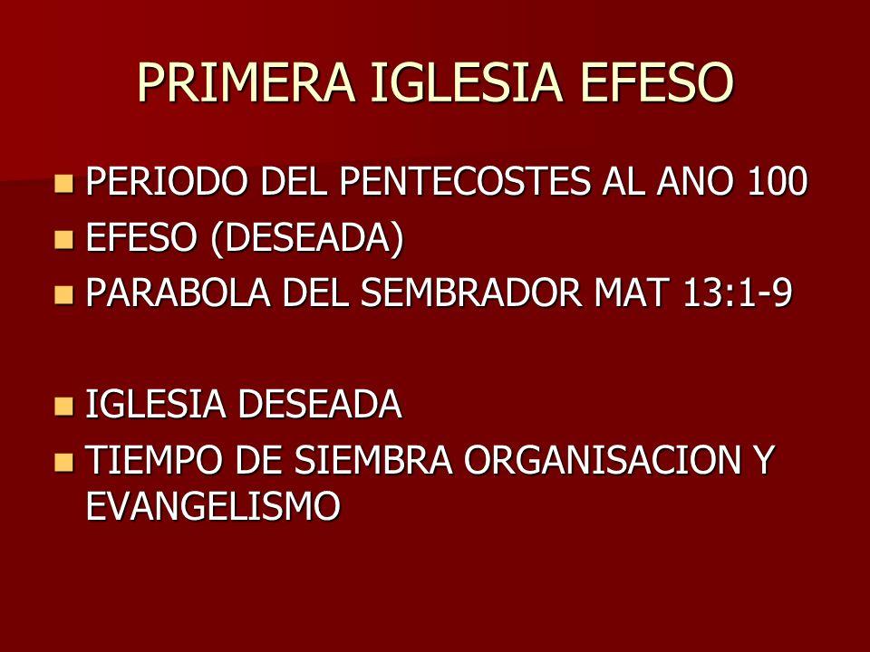 PRIMERA IGLESIA EFESO PERIODO DEL PENTECOSTES AL ANO 100 PERIODO DEL PENTECOSTES AL ANO 100 EFESO (DESEADA) EFESO (DESEADA) PARABOLA DEL SEMBRADOR MAT