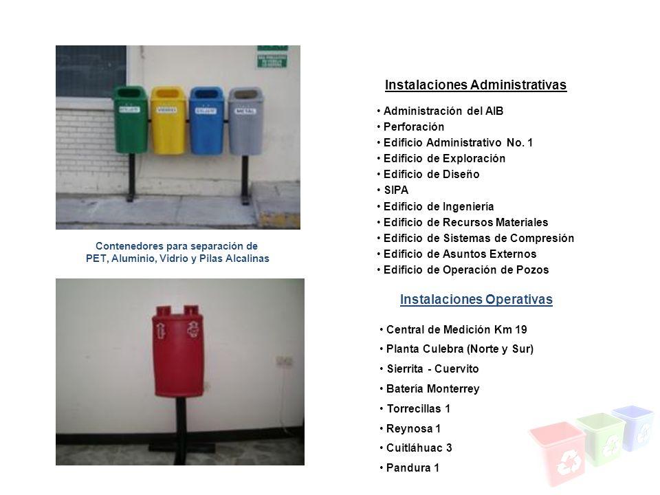 Contenedores para separación de PET, Aluminio, Vidrio y Pilas Alcalinas Instalaciones Administrativas Instalaciones Operativas Administración del AIB