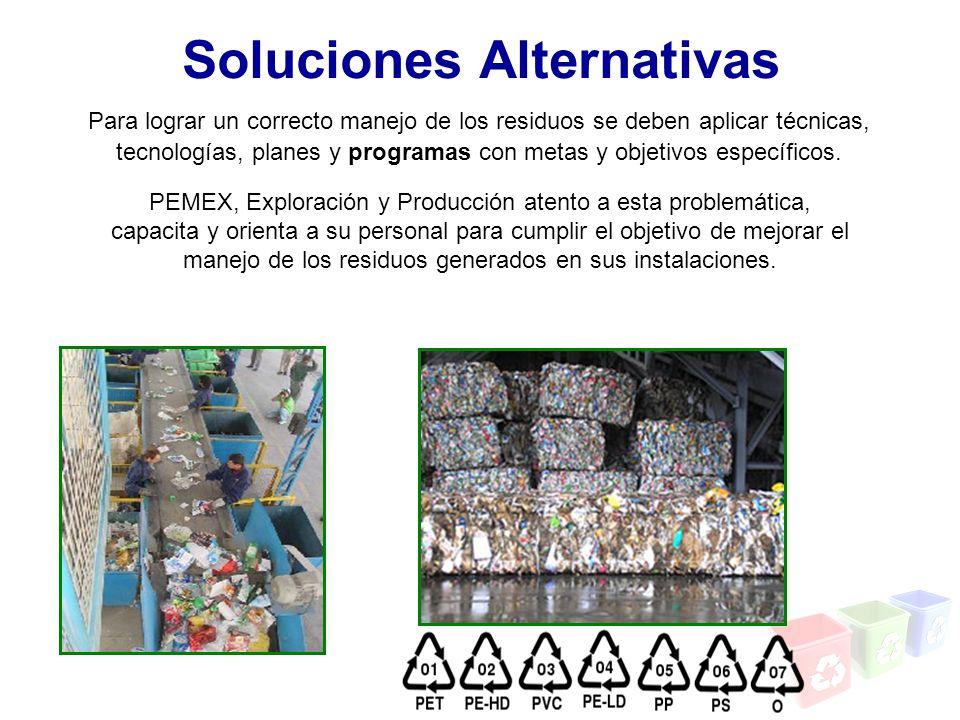 Para lograr un correcto manejo de los residuos se deben aplicar técnicas, tecnologías, planes y programas con metas y objetivos específicos. PEMEX, Ex