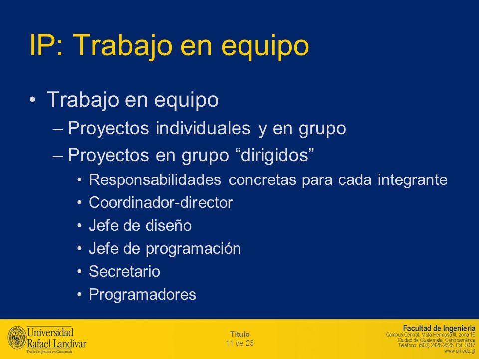Título 11 de 25 IP: Trabajo en equipo Trabajo en equipo –Proyectos individuales y en grupo –Proyectos en grupo dirigidos Responsabilidades concretas p