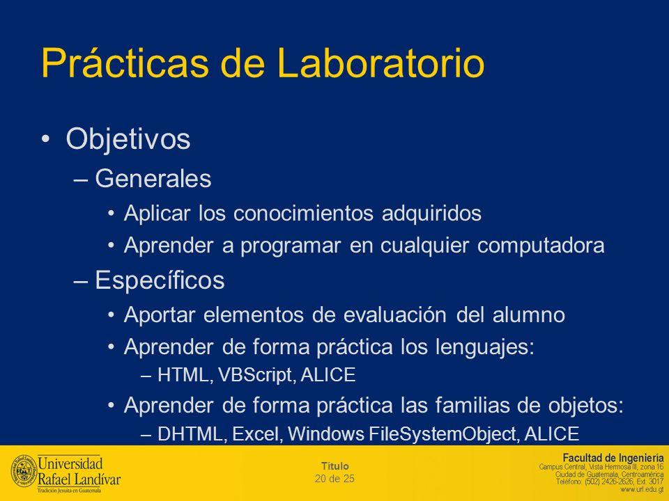Título 20 de 25 Prácticas de Laboratorio Objetivos –Generales Aplicar los conocimientos adquiridos Aprender a programar en cualquier computadora –Espe