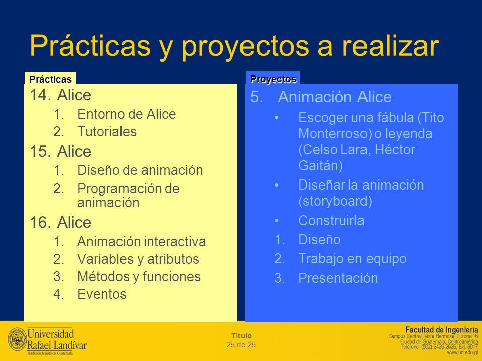 Título 25 de 25 Prácticas y proyectos a realizar 14.Alice 1.Entorno de Alice 2.Tutoriales 15.Alice 1.Diseño de animación 2.Programación de animación 1