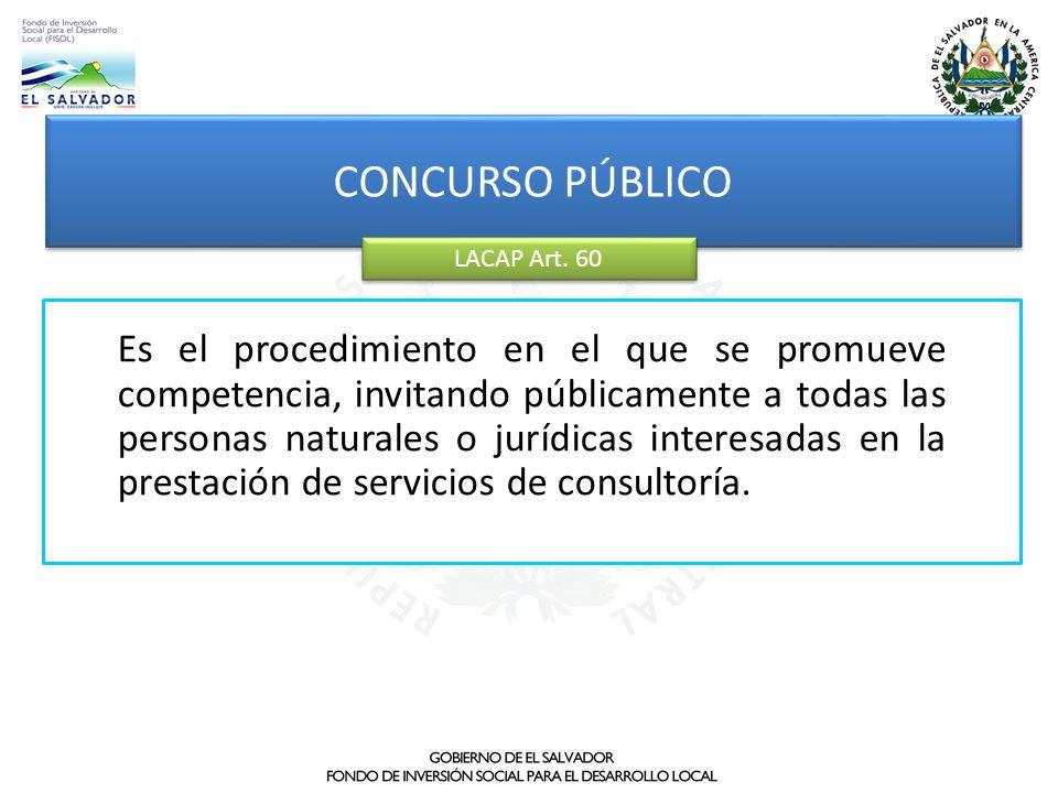 Es el procedimiento en el que se promueve competencia, invitando públicamente a todas las personas naturales o jurídicas interesadas en la prestación