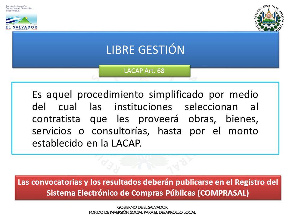 Es aquel procedimiento simplificado por medio del cual las instituciones seleccionan al contratista que les proveerá obras, bienes, servicios o consul