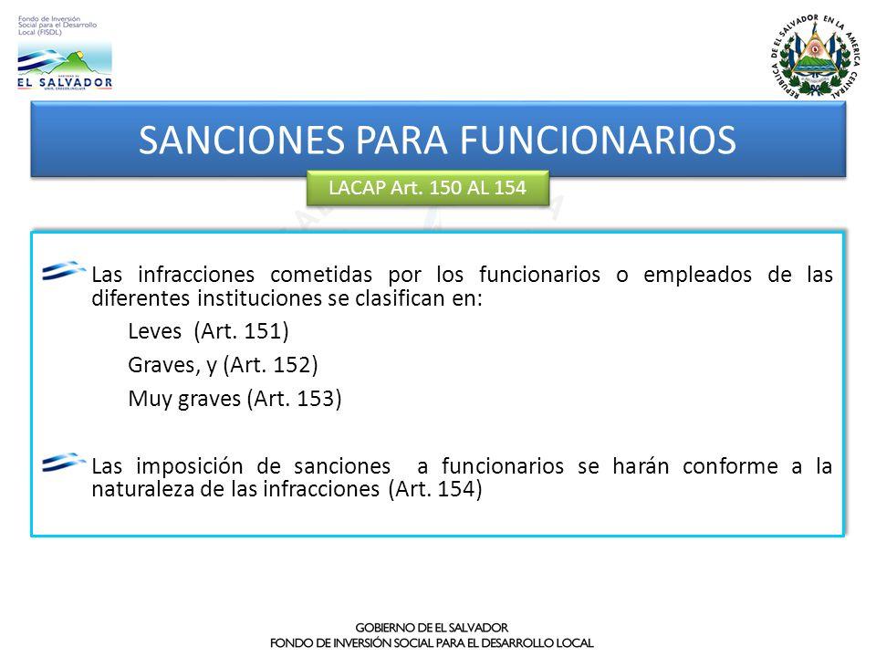 SANCIONES PARA FUNCIONARIOS LACAP Art. 150 AL 154 Las infracciones cometidas por los funcionarios o empleados de las diferentes instituciones se clasi