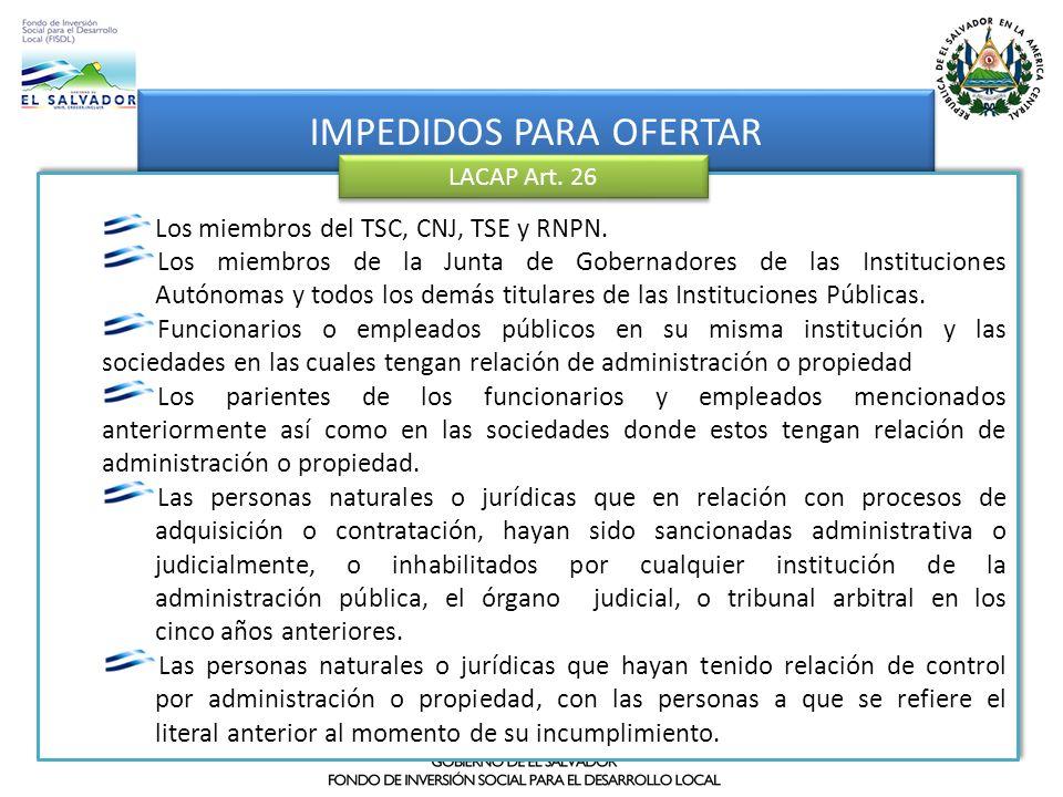 Operación de la aplicación IMPEDIDOS PARA OFERTAR Los miembros del TSC, CNJ, TSE y RNPN. Los miembros de la Junta de Gobernadores de las Instituciones