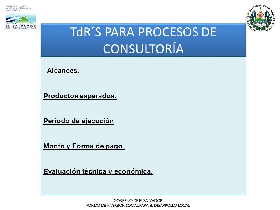 TdR´S PARA PROCESOS DE CONSULTORÍA Alcances. Productos esperados. Período de ejecución Monto y Forma de pago. Evaluación técnica y económica.