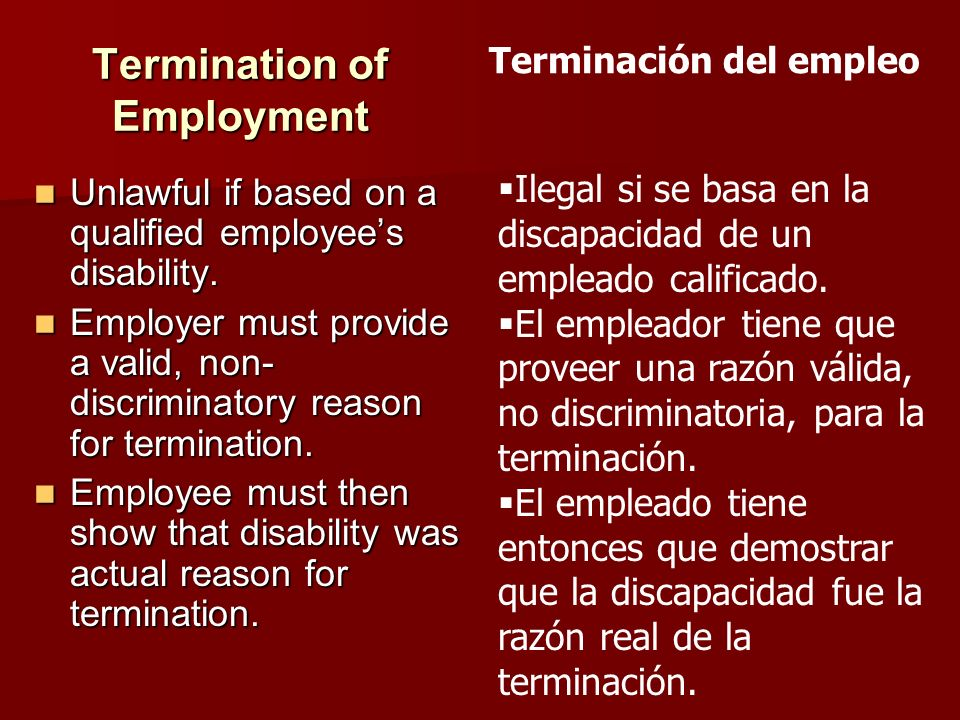 Termination of Employment Unlawful if based on a qualified employees disability. Unlawful if based on a qualified employees disability. Employer must