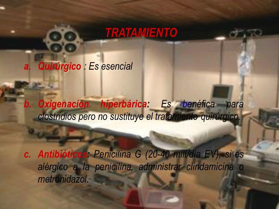 TRATAMIENTO a.Quirúrgico : Es esencial b.Oxigenación hiperbárica: Es benéfica para clostridios pero no sustituye el tratamiento quirúrgico. c.Antibiót