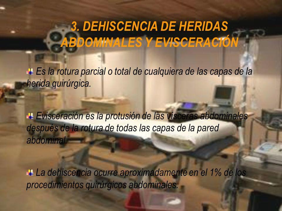 3. DEHISCENCIA DE HERIDAS ABDOMINALES Y EVISCERACIÓN Es la rotura parcial o total de cualquiera de las capas de la herida quirúrgica. Evisceración es