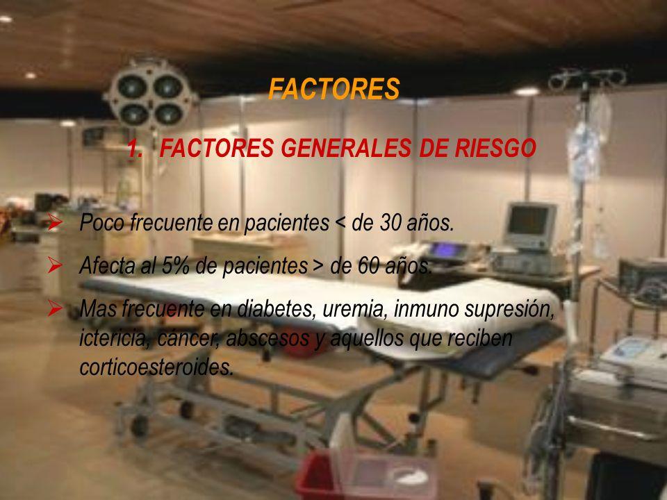 FACTORES 1.FACTORES GENERALES DE RIESGO Poco frecuente en pacientes < de 30 años. Afecta al 5% de pacientes > de 60 años. Mas frecuente en diabetes, u