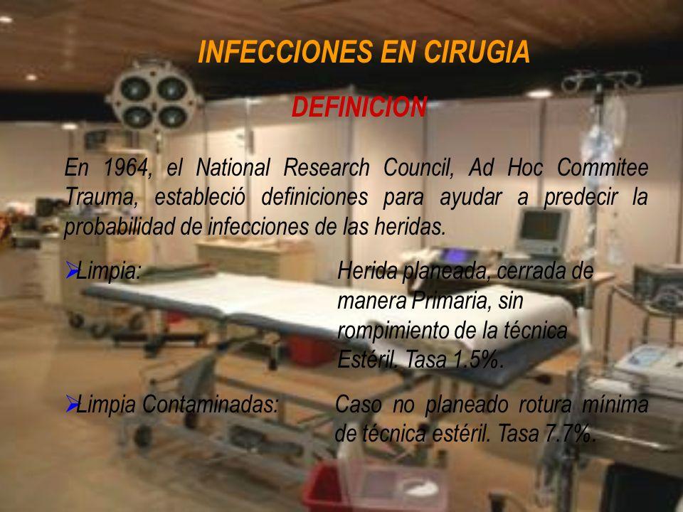 DEFINICION En 1964, el National Research Council, Ad Hoc Commitee Trauma, estableció definiciones para ayudar a predecir la probabilidad de infeccione