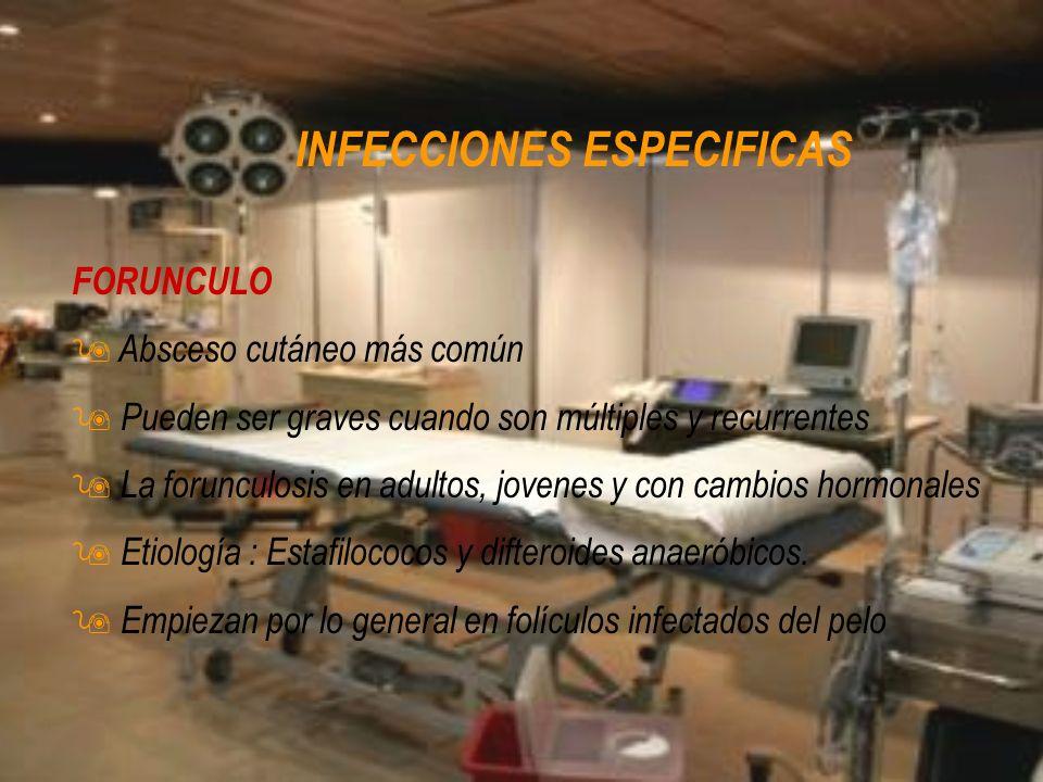 INFECCIONES ESPECIFICAS FORUNCULO 9 Absceso cutáneo más común 9 Pueden ser graves cuando son múltiples y recurrentes 9 La forunculosis en adultos, jov