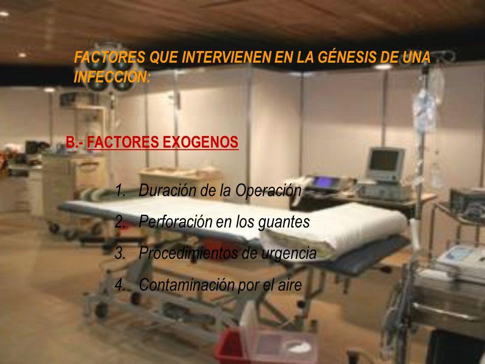B.- FACTORES EXOGENOS 1.Duración de la Operación 2.Perforación en los guantes 3.Procedimientos de urgencia 4.Contaminación por el aire FACTORES QUE IN
