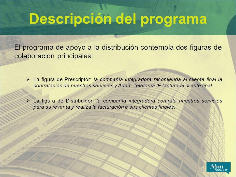 Descripción del programa El programa de apoyo a la distribución contempla dos figuras de colaboración principales: La figura de Prescriptor: la compañ