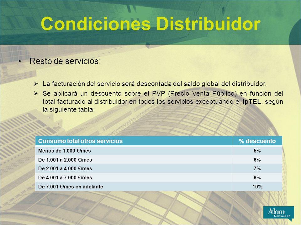 Condiciones Distribuidor Resto de servicios: La facturación del servicio será descontada del saldo global del distribuidor. Se aplicará un descuento s