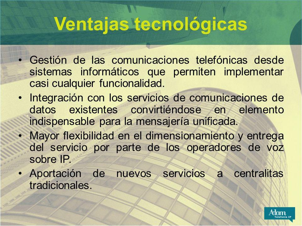 Ventajas tecnológicas Gestión de las comunicaciones telefónicas desde sistemas informáticos que permiten implementar casi cualquier funcionalidad. Int