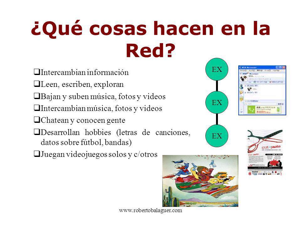 www.robertobalaguer.com ¿Qué cosas hacen en la Red? Intercambian información Leen, escriben, exploran Bajan y suben música, fotos y videos Intercambia