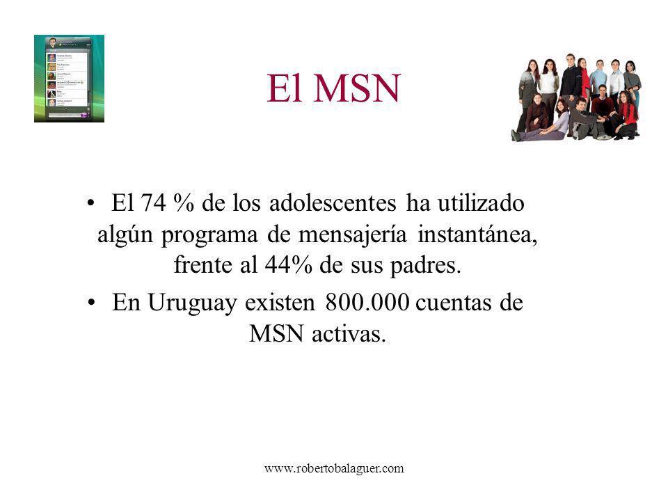 www.robertobalaguer.com El MSN El 74 % de los adolescentes ha utilizado algún programa de mensajería instantánea, frente al 44% de sus padres. En Urug