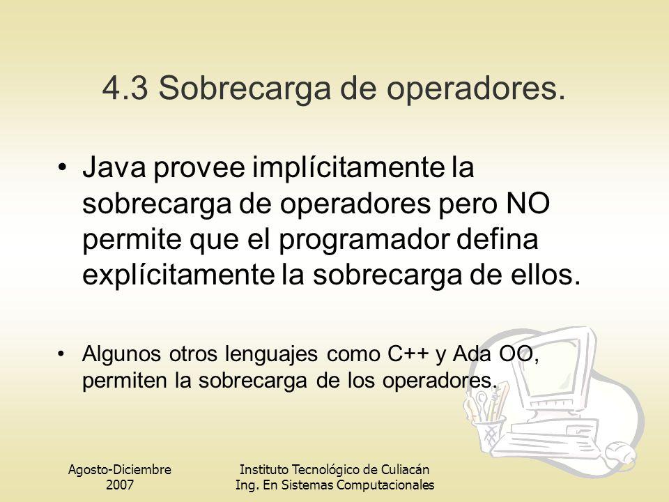 Agosto-Diciembre 2007 Instituto Tecnológico de Culiacán Ing. En Sistemas Computacionales 4.3 Sobrecarga de operadores. Java provee implícitamente la s