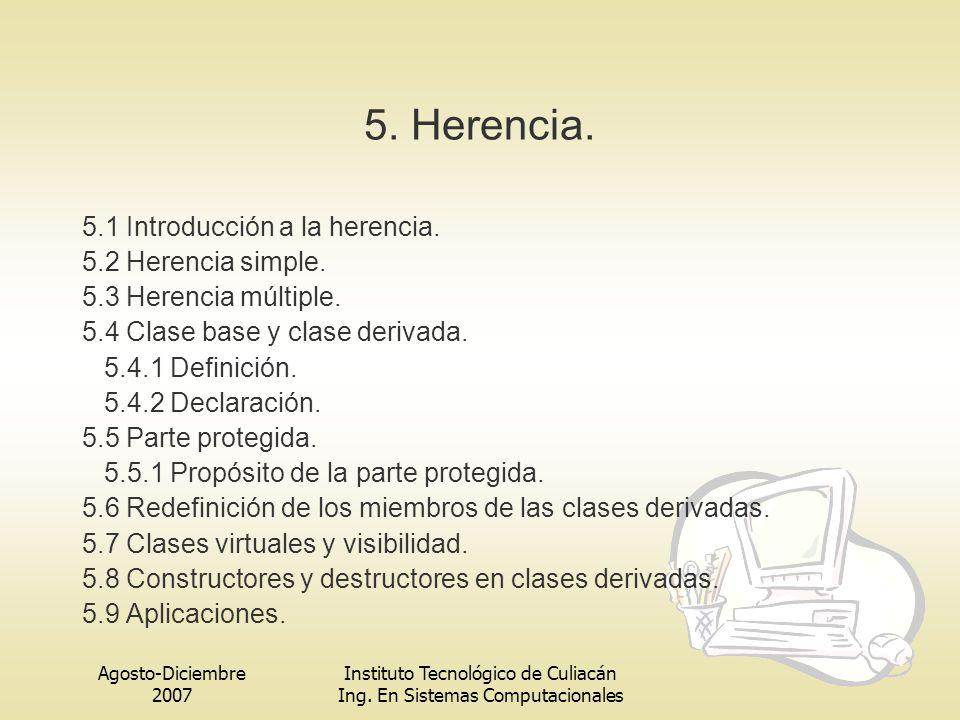 Agosto-Diciembre 2007 Instituto Tecnológico de Culiacán Ing. En Sistemas Computacionales 5. Herencia. 5.1 Introducción a la herencia. 5.2 Herencia sim
