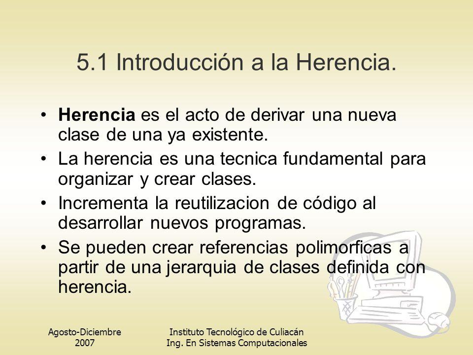 Agosto-Diciembre 2007 Instituto Tecnológico de Culiacán Ing. En Sistemas Computacionales 5.1 Introducción a la Herencia. Herencia es el acto de deriva