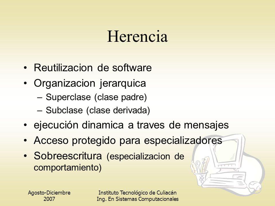 Agosto-Diciembre 2007 Instituto Tecnológico de Culiacán Ing. En Sistemas Computacionales Herencia Reutilizacion de software Organizacion jerarquica –S