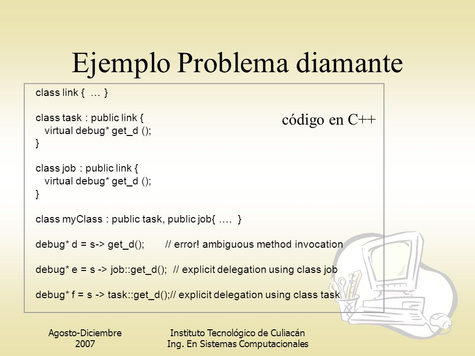 Agosto-Diciembre 2007 Instituto Tecnológico de Culiacán Ing. En Sistemas Computacionales Ejemplo Problema diamante class link { … } class task : publi