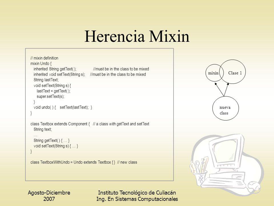 Agosto-Diciembre 2007 Instituto Tecnológico de Culiacán Ing. En Sistemas Computacionales Herencia Mixin Clase 1mixin nueva class // mixin definition m