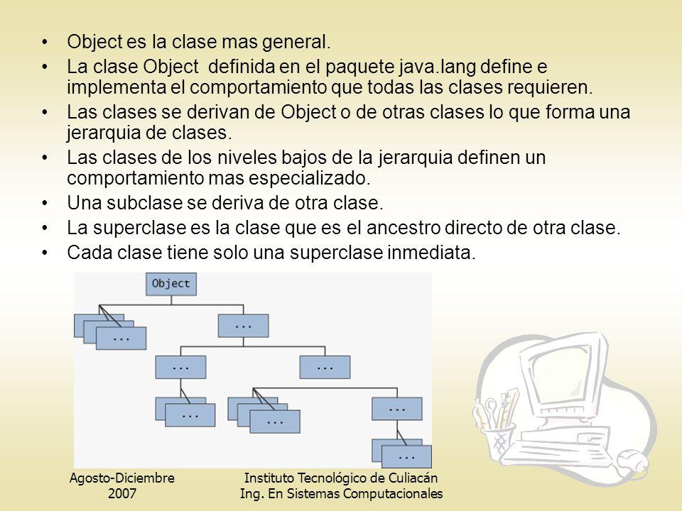 Agosto-Diciembre 2007 Instituto Tecnológico de Culiacán Ing. En Sistemas Computacionales Object es la clase mas general. La clase Object definida en e