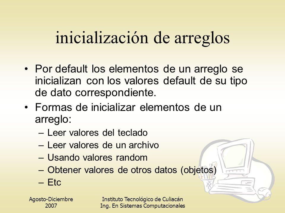 Agosto-Diciembre 2007 Instituto Tecnológico de Culiacán Ing. En Sistemas Computacionales inicialización de arreglos Por default los elementos de un ar