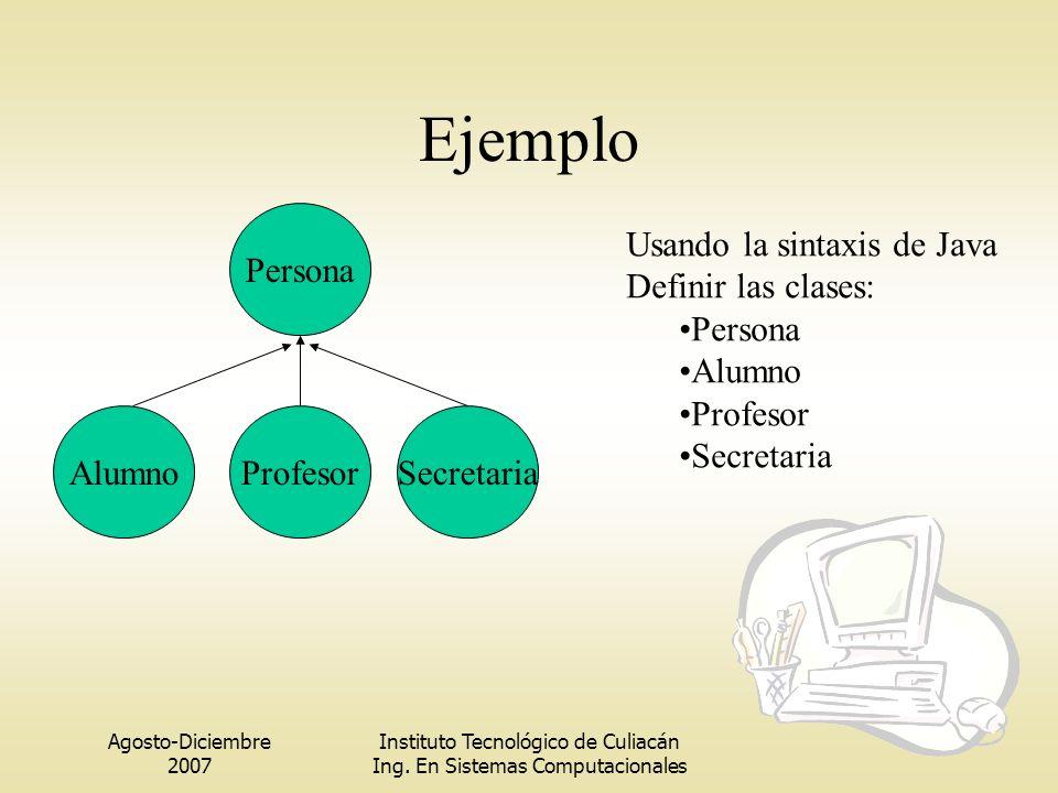 Agosto-Diciembre 2007 Instituto Tecnológico de Culiacán Ing. En Sistemas Computacionales Ejemplo Alumno Persona ProfesorSecretaria Usando la sintaxis