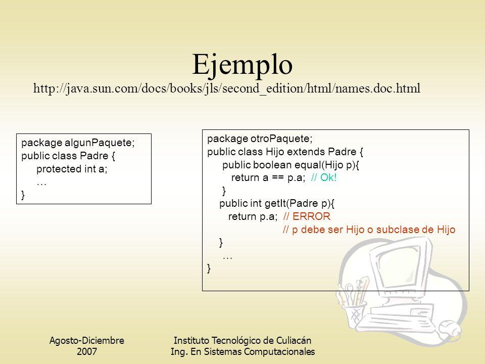 Agosto-Diciembre 2007 Instituto Tecnológico de Culiacán Ing. En Sistemas Computacionales Ejemplo package algunPaquete; public class Padre { protected