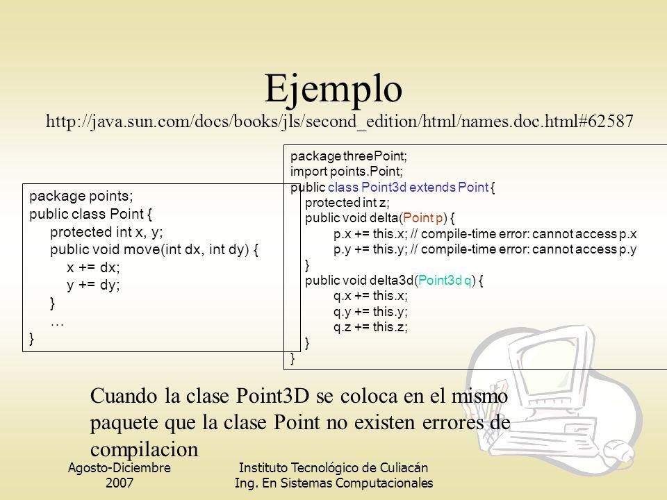 Agosto-Diciembre 2007 Instituto Tecnológico de Culiacán Ing. En Sistemas Computacionales Ejemplo package points; public class Point { protected int x,