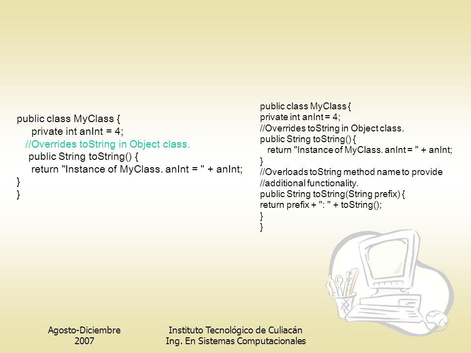 Agosto-Diciembre 2007 Instituto Tecnológico de Culiacán Ing. En Sistemas Computacionales public class MyClass { private int anInt = 4; //Overrides toS