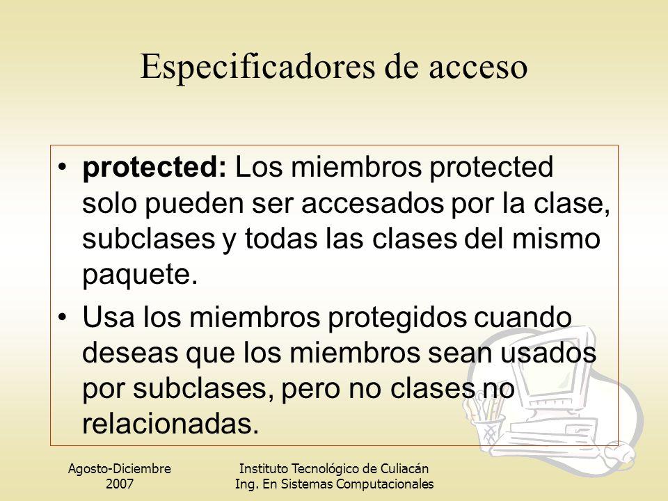 Agosto-Diciembre 2007 Instituto Tecnológico de Culiacán Ing. En Sistemas Computacionales protected: Los miembros protected solo pueden ser accesados p