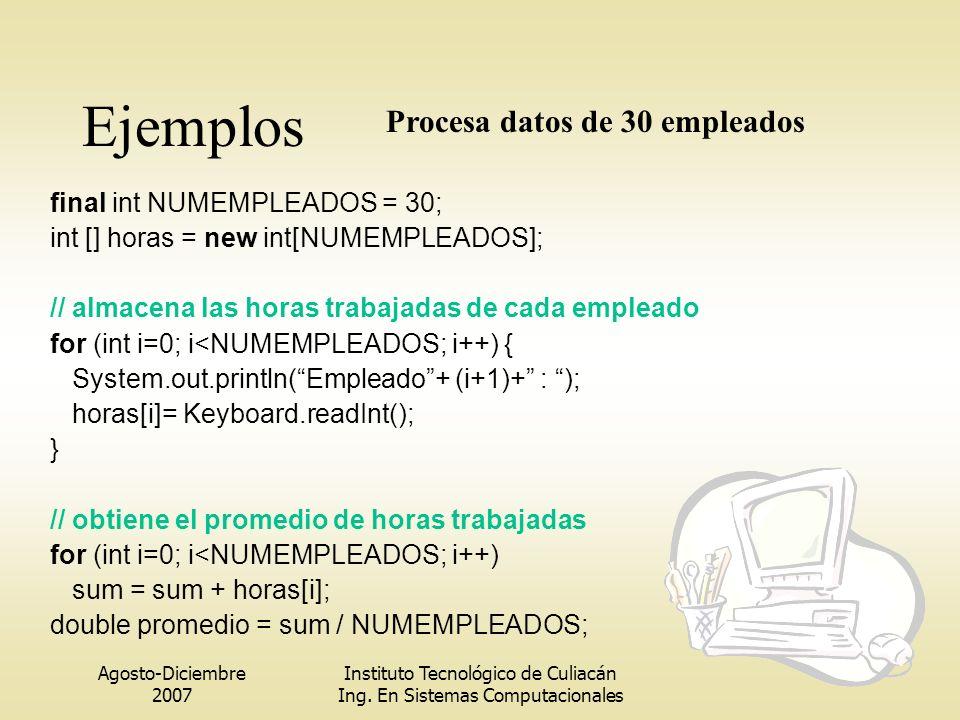 Agosto-Diciembre 2007 Instituto Tecnológico de Culiacán Ing. En Sistemas Computacionales final int NUMEMPLEADOS = 30; int [] horas = new int[NUMEMPLEA