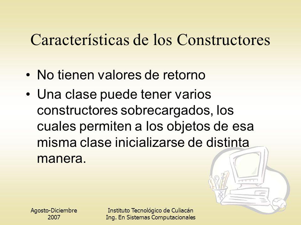 Agosto-Diciembre 2007 Instituto Tecnológico de Culiacán Ing. En Sistemas Computacionales Características de los Constructores No tienen valores de ret