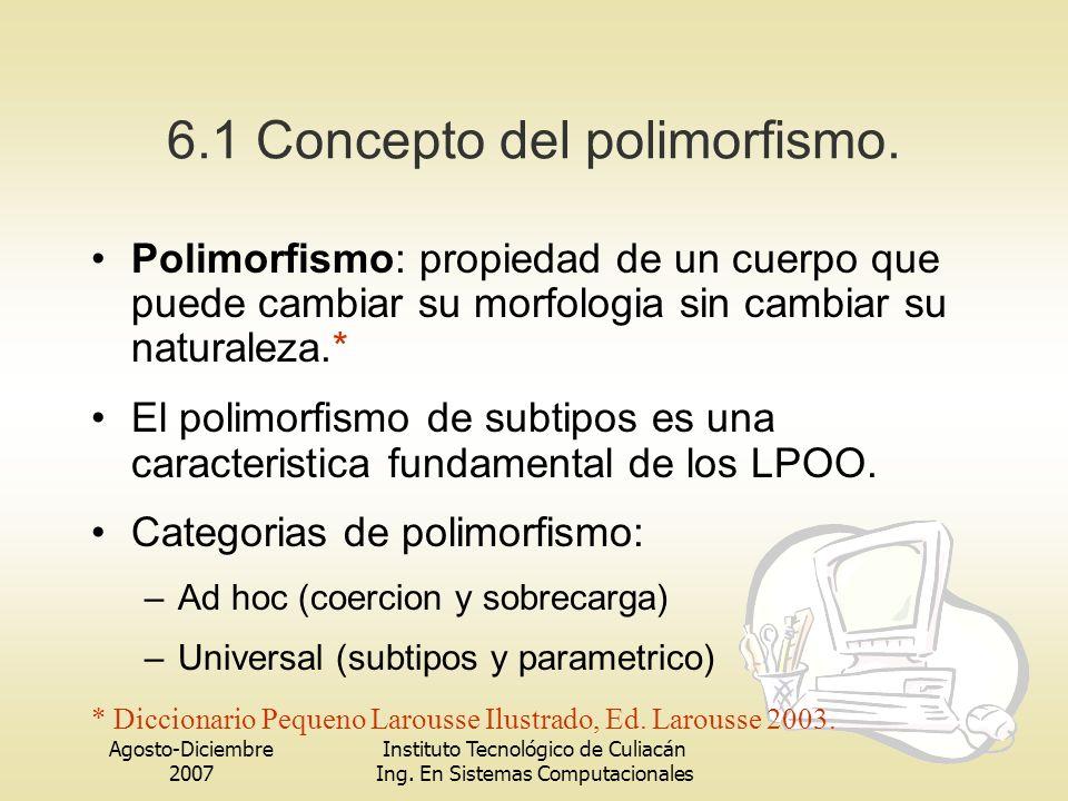 Agosto-Diciembre 2007 Instituto Tecnológico de Culiacán Ing. En Sistemas Computacionales 6.1 Concepto del polimorfismo. Polimorfismo: propiedad de un