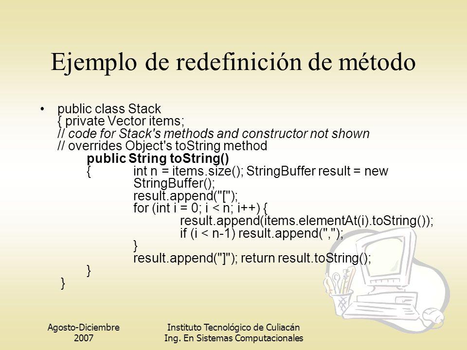 Agosto-Diciembre 2007 Instituto Tecnológico de Culiacán Ing. En Sistemas Computacionales Ejemplo de redefinición de método public class Stack { privat