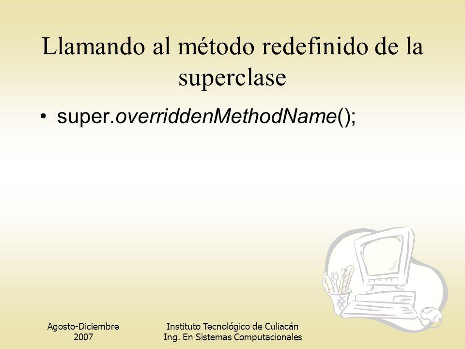 Agosto-Diciembre 2007 Instituto Tecnológico de Culiacán Ing. En Sistemas Computacionales Llamando al método redefinido de la superclase super.overridd