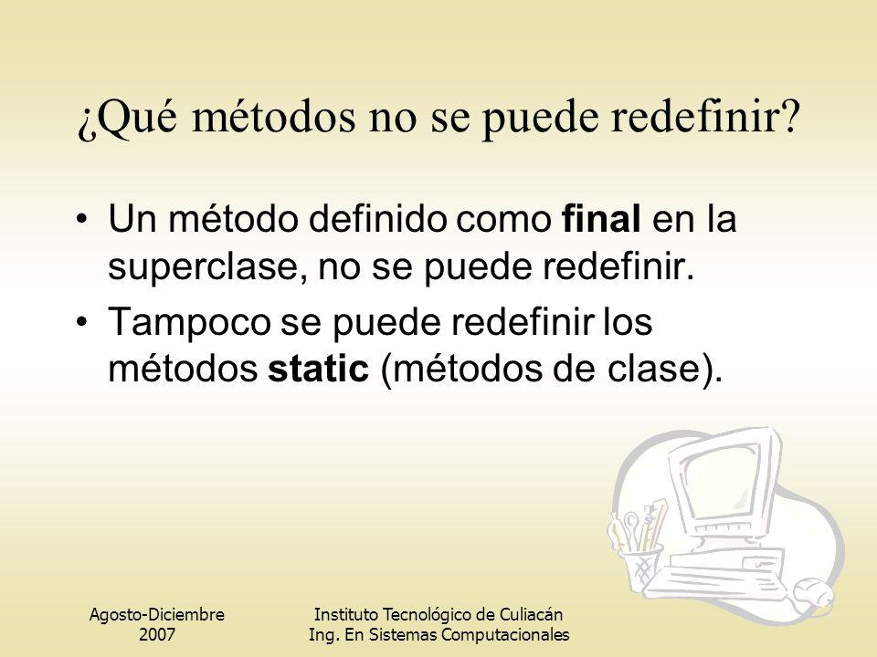 Agosto-Diciembre 2007 Instituto Tecnológico de Culiacán Ing. En Sistemas Computacionales ¿Qué métodos no se puede redefinir? Un método definido como f