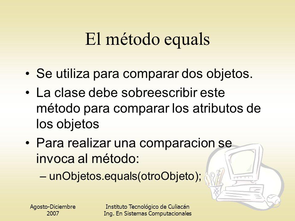Agosto-Diciembre 2007 Instituto Tecnológico de Culiacán Ing. En Sistemas Computacionales El método equals Se utiliza para comparar dos objetos. La cla