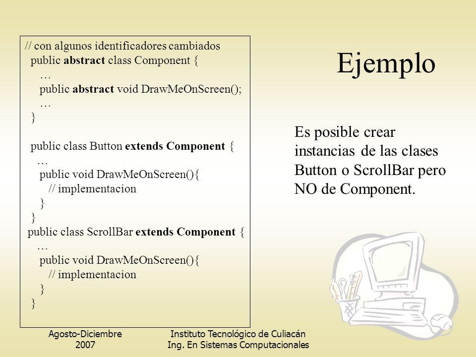 Agosto-Diciembre 2007 Instituto Tecnológico de Culiacán Ing. En Sistemas Computacionales Ejemplo // con algunos identificadores cambiados public abstr