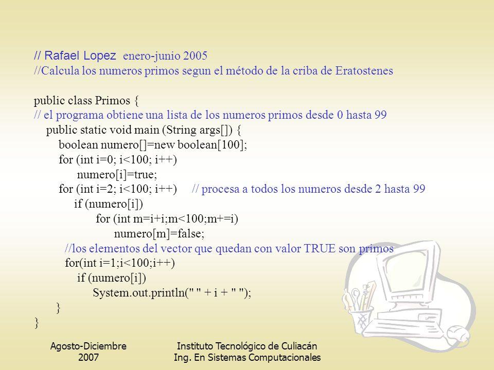 Agosto-Diciembre 2007 Instituto Tecnológico de Culiacán Ing. En Sistemas Computacionales // Rafael Lopez enero-junio 2005 //Calcula los numeros primos